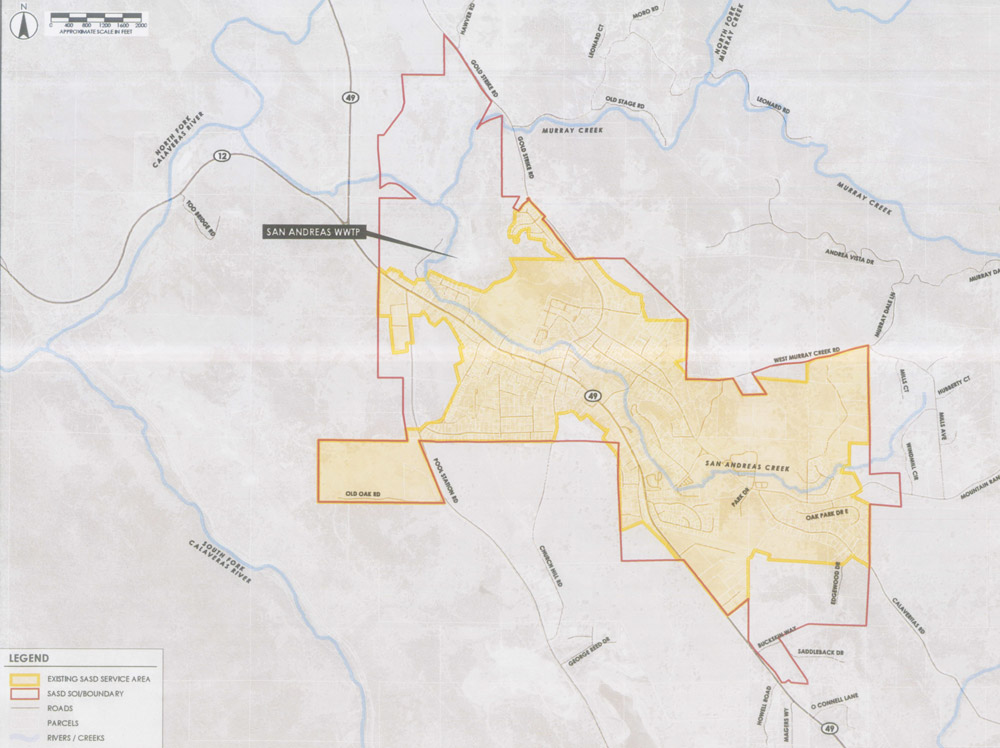 San Andreas Sanitary District Area Map