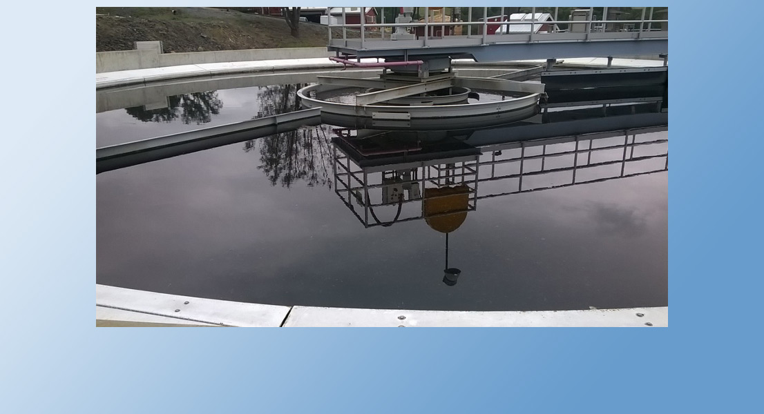 The Secondary Clarifier is a large settling tank in which the solids from Aerations Basins can settle out and be returned to the process. The clear water then continues on to Tertiary Filters.